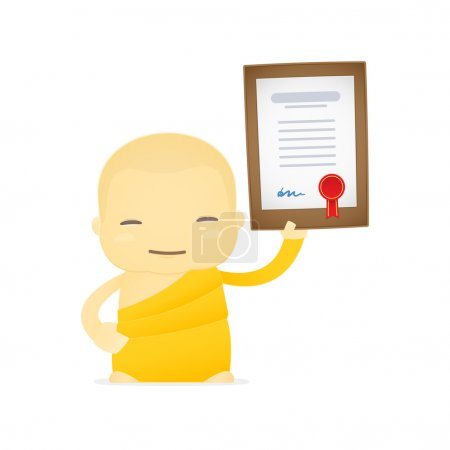 Funny cartoon monk in various poses for use in adv...