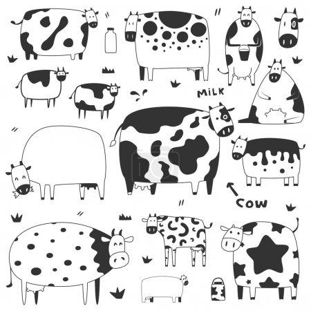 Illustration pour Ensemble de vaches drôles - image libre de droit