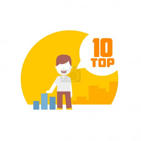 Man viewing top 10. flat design concept