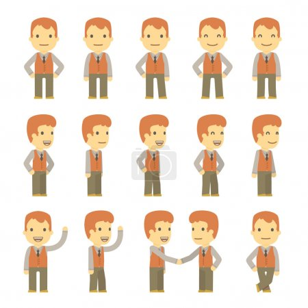 Illustration for Urban character set in different poses. simple flat design. - Royalty Free Image