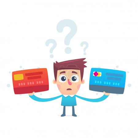 Illustration for The problem of choosing a credit card - Royalty Free Image