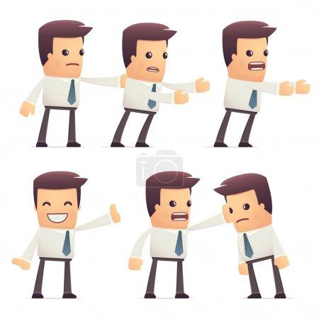 Illustration pour Jeu de caractères manager dans différentes poses interactives - image libre de droit