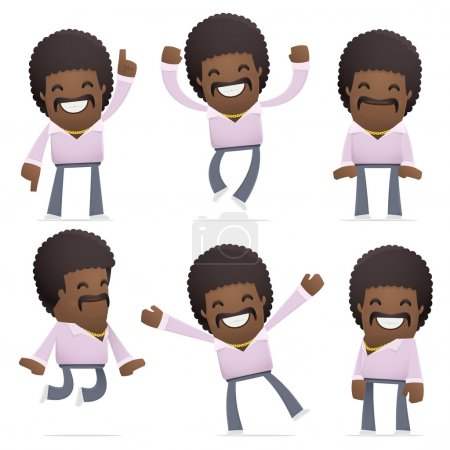 Illustration for Set of disco man character in different interactive  poses - Royalty Free Image