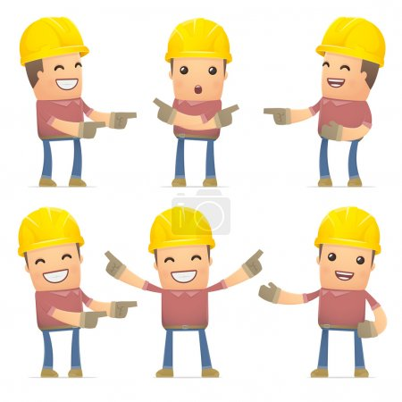Illustration for Set of builder character in different interactive  poses - Royalty Free Image