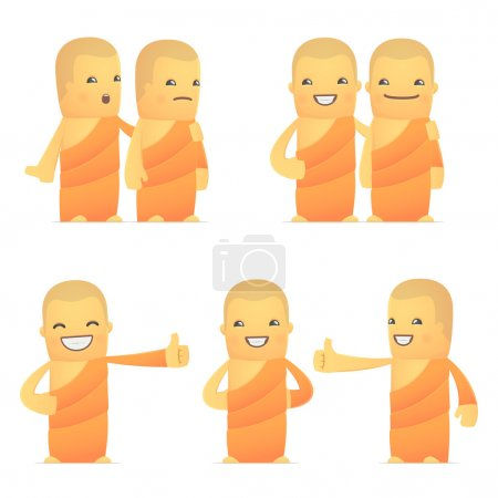 set of monk character in different poses
