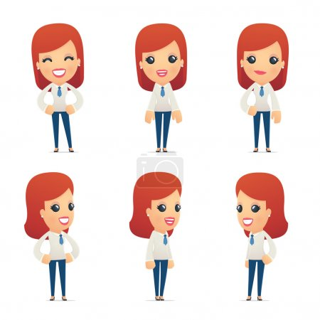 Illustration for Set of reception character in different interactive  poses - Royalty Free Image