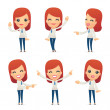 Set of reception character in different interactiv...