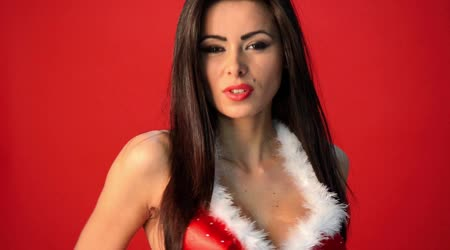 Woman in Red Christmas Outfit