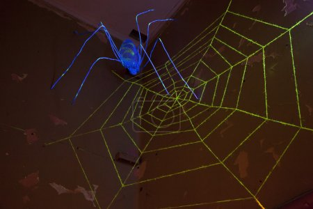 Simplified spider made of metal and a artificial spiderweb