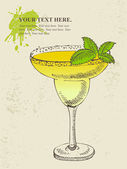 Hand drawn illustration of tropical yellow cocktail