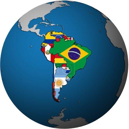 Photo pour Carte de l'Amérique du Sud, pays isolés sur la carte blanche du globe - image libre de droit