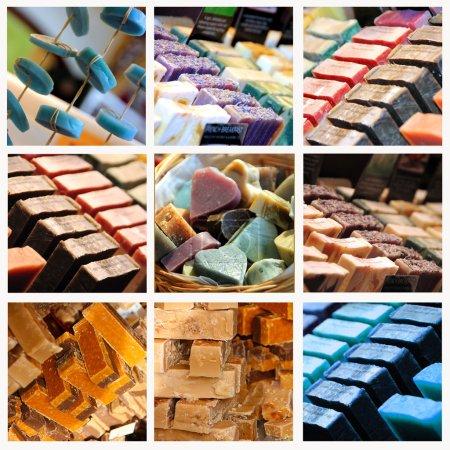 Photo pour Tranches de main fraîche, faite de savons aromatiques sur un étal de marché - image libre de droit