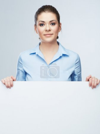 Business woman, blank board isolated portrait .