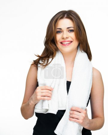 sport woman isolated against white background