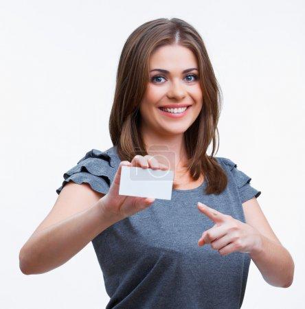 Teenager girl hold white blank paper.