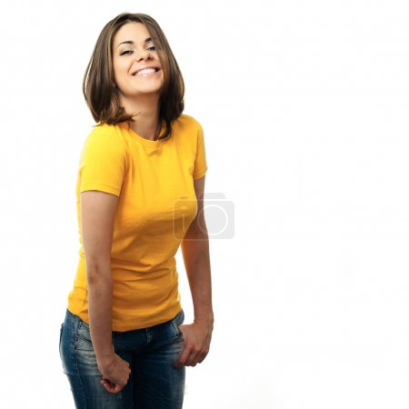 Photo for Close-up portrait of yong woman casual portrait in positive view, big smile, beautiful model posing in studio over white background . Isolated on white. - Royalty Free Image