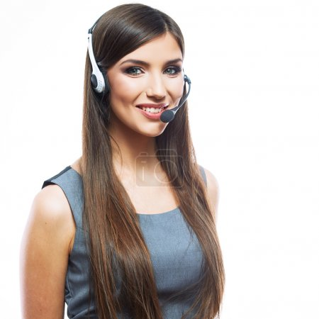 Woman customer service worker, call center smiling operator