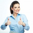 Thumb up. Business woman isolated white background...