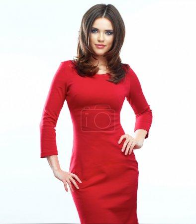 Photo pour Femme en robe rouge isolé sur fond blanc. belle fille de sourire. modèle féminin. - image libre de droit