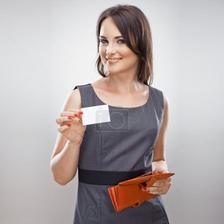 Business woman hold credit card from purse. Isolat...