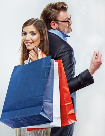 Photo for Man, woman couple shopping portrait. Shopping bags. White background - Royalty Free Image