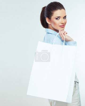 Business woman hold shopping bag