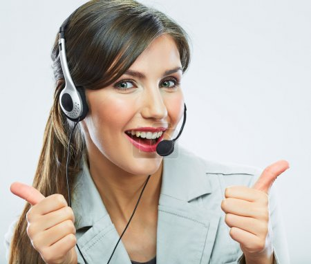Customer support operator showing thumbs show