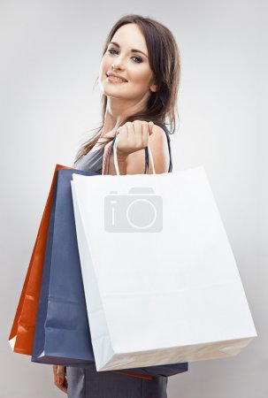 Woman hold shopping bag.