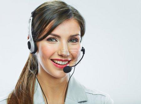 Foto de Operador de centro de la mujer llamada con auricular de teléfono - Imagen libre de derechos