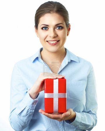 Business woman holds gift