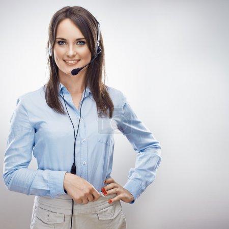 Photo pour Opérateur de centre d'appel. Femme souriante de service client - image libre de droit
