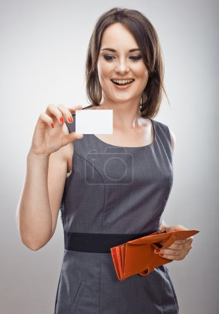 Woman holds credit card