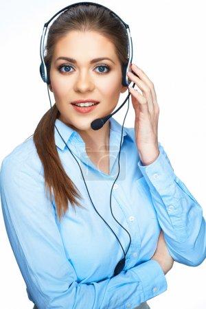 Photo pour Appelez consultant opérateur Centre avec microphone. femme d'affaires sur fond blanc - image libre de droit