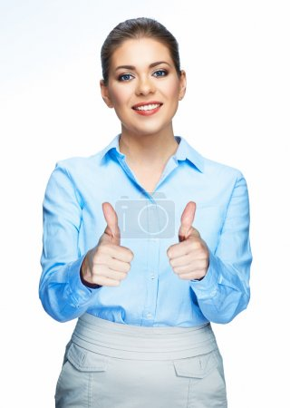 Woman shows thumbs up