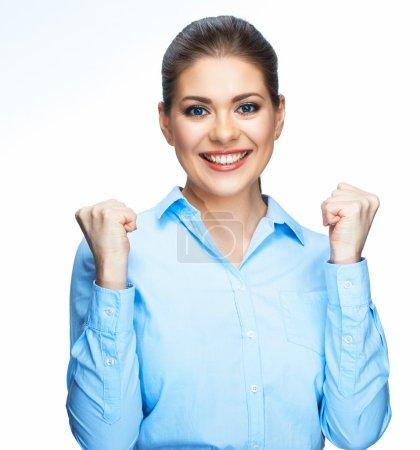 Photo pour Portrait professionnel de femme d'affaires isolé sur fond blanc - image libre de droit