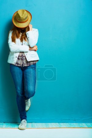 Fashion photo of country style model with yellow hat