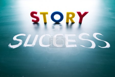 Photo for Story of success concept, words on blackboard - Royalty Free Image