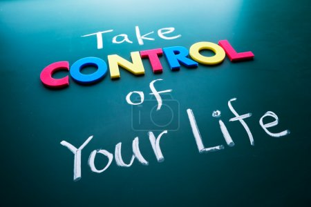 Photo for Take control of your life concept, colorful words on blackboard - Royalty Free Image
