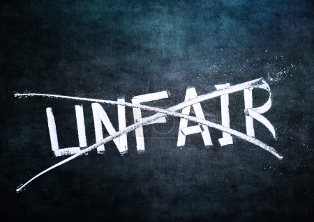 Photo for No unfair concept, word on grungy blackboard - Royalty Free Image