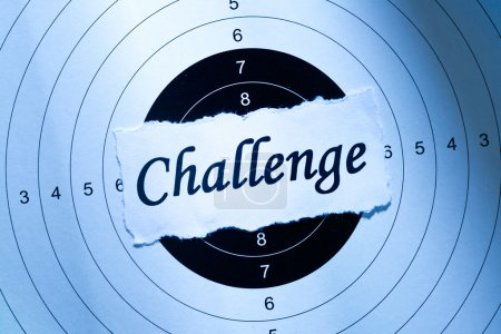 Photo for Challenge concept, word on target paper - Royalty Free Image