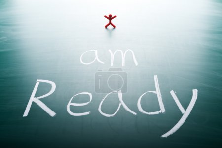 Photo for I am ready, conceptual words on blackboard - Royalty Free Image