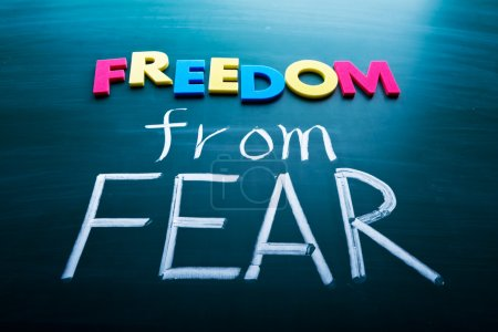 Photo for Freedom from fear, colorful conceptual words on blackboard. - Royalty Free Image
