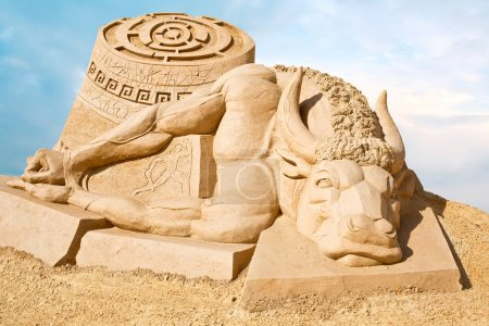 Sculpture from sand. Work of art, doomed to death ...