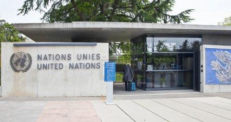 Photo pour Suisse, Genève - peut 06.2014 : checkpoin au palais des nations, qui abrite le Bureau des nations Unies en europe pour le maintien de la paix et la protection des droits de l'homme - image libre de droit