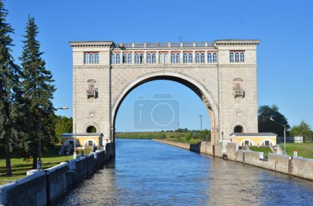 SLUICE GATES ON THE RIVER VOLGA, RUSSIA...