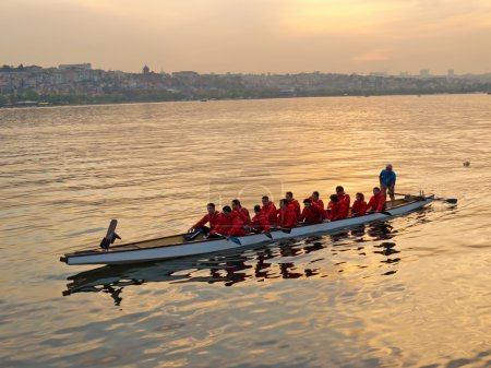 Rowing team practicing in the Golden Horn at sunset