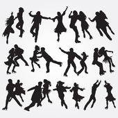 Silhouettes of skaters on a white background Set of icons EPS