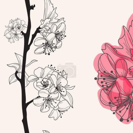 Illustration for Decorative hand drawn cherry blossom , seamless pattern - Royalty Free Image