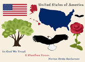 Set of principal symbols of United States of America flag map and slogans