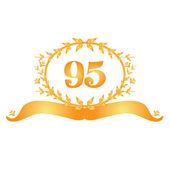95th anniversary golden floral banner